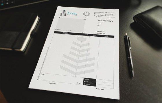 Koyu kurumsal kimlik fatura tasarımı